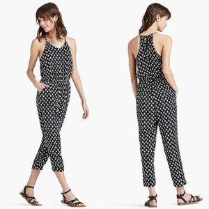 Lucky Brand Black & White Boho Cropped Jumpsuit